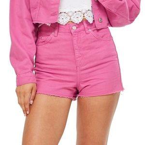 NWOT Topshop Pink Denim Mom Shorts